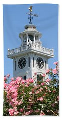 Clock Tower And Roses Beach Towel