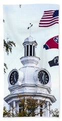 Clock Tower With Tennessee Mia Us Flag Art Beach Towel