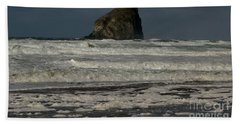 Close Haystack Rock Beach Sheet by Susan Garren