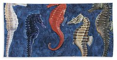 Close-up Of Five Seahorses Side By Side  Beach Towel