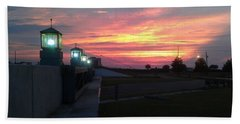 Closed Flood Gates Sunset Beach Towel