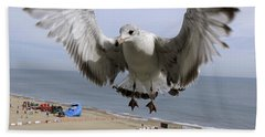 Closeup Of Hovering Seagull Beach Towel