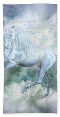 Beach Sheet featuring the mixed media Unicorn Cloud Dancer by Carol Cavalaris