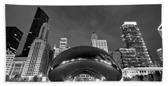 Cloud Gate And Skyline Beach Towel by Adam Romanowicz