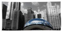 Cloud Gate B-w Chicago Beach Towel
