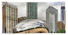 Beach Towel featuring the photograph Cloud Gate In Chicago by Mitchell R Grosky