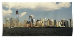 Clouds Over New York Skyline Beach Towel