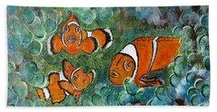 Clown Fish Art Original Tropical Painting Beach Sheet