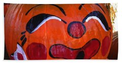Beach Towel featuring the photograph Clown Pumpkin by Denyse Duhaime