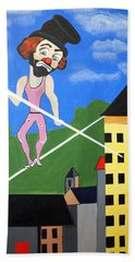 Beach Towel featuring the painting Clown Tight Roping by Nora Shepley