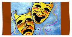 Beach Towel featuring the painting Comedy And Tragedy by Nora Shepley