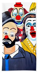 Beach Towel featuring the painting Clowns In Shock by Nora Shepley