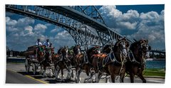 Clydesdales And Blue Water Bridges Beach Towel