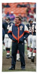Coach Ditka Standing In A Stadium Beach Towel