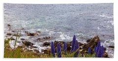 Coastal Cliff Flowers Beach Sheet by Melinda Ledsome