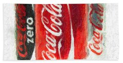 Coca Cola Art Impasto Beach Sheet by Antony McAulay