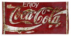Coca Cola Red Grunge Sign Beach Sheet by John Stephens