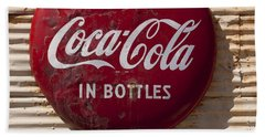 Coca Cola Sign   #0636 Beach Towel by J L Woody Wooden
