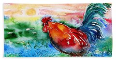 Beach Towel featuring the painting Cock A Doodle Doo  by Trudi Doyle