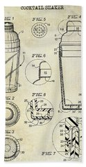 Cocktail Shaker Patent Drawing Beach Towel