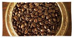 Coffee Beans On Antique Silver Platter Beach Sheet