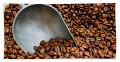Coffee Beans With Scoop Beach Sheet by Jason Politte
