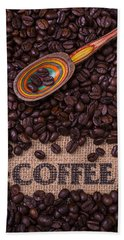 Coffee Beans With Spoon Beach Towel