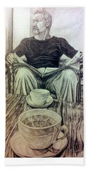Beach Towel featuring the drawing Coffee Break by R Muirhead Art