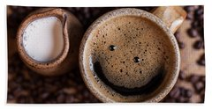 Beach Towel featuring the photograph Coffee With A Smile by Aaron Aldrich