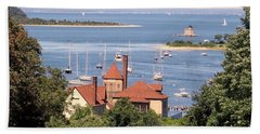 Beach Towel featuring the photograph Coindre Hall Boathouse by Ed Weidman