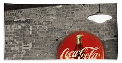Coke Cola Sign Beach Sheet by Paulette B Wright