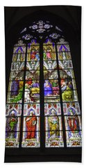 Cologne Cathedral Stained Glass Window Of Pentecost Beach Sheet