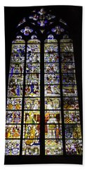 Cologne Cathedral Stained Glass Window Of St Peter And Tree Of Jesse Beach Towel