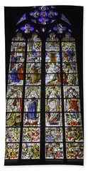 Cologne Cathedral Stained Glass Window Of The Three Holy Kings Beach Sheet