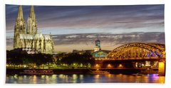 Cologne Cathedral With Rhine Riverside Beach Towel by Heiko Koehrer-Wagner