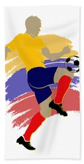 Colombia Soccer Player Beach Towel
