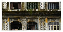 Colonial Facade Bo Soon Pat Street 8th Ward Central Yangon Burma Beach Towel