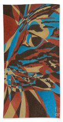 Beach Towel featuring the painting Color Cat II by Pamela Clements