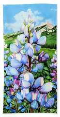 Beach Towel featuring the painting Colorado Summer Blues by Barbara Jewell