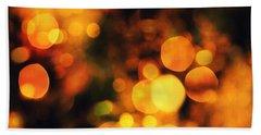 Beach Sheet featuring the digital art Coloured Bokeh Lights by Fine Art By Andrew David