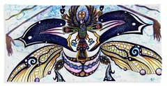 Colored Cultural Zoo B Sacred Scarab Beach Sheet by Melinda Dare Benfield
