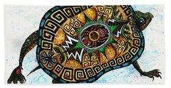 Colored Cultural Zoo C Eastern Woodlands Tortoise Beach Towel by Melinda Dare Benfield