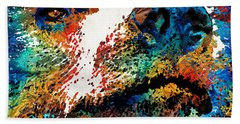 Colorful Bear Art - Bear Stare - By Sharon Cummings Beach Towel