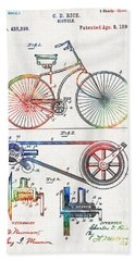 Colorful Bike Art - Vintage Patent - By Sharon Cummings Beach Towel