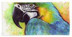 Macaw Watercolor Beach Sheet by Olga Shvartsur