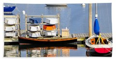 Colorful Boats Rockland Maine Beach Sheet