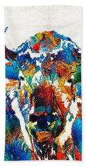 Colorful Buffalo Art - Sacred - By Sharon Cummings Beach Sheet by Sharon Cummings