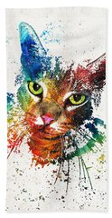 Colorful Cat Art By Sharon Cummings Beach Towel