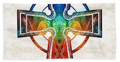 Colorful Celtic Cross By Sharon Cummings Beach Towel