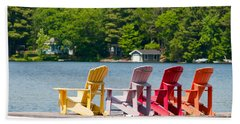 Beach Sheet featuring the photograph Colorful Chairs by Les Palenik